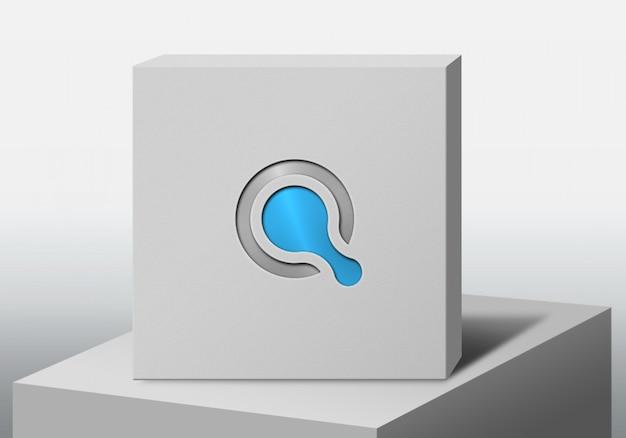 Maquete logotipo com caixa branca efeito pressionado