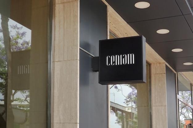 Maquete logotipo moderno preto pendurar sinal