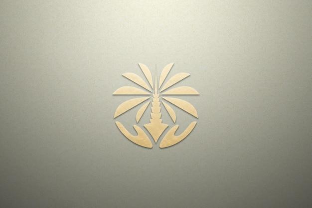 Maquete logotipo papel luxo textura ouro