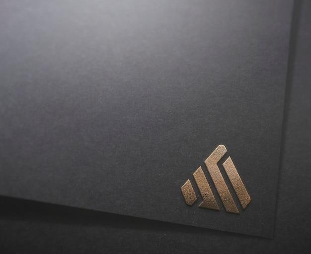 Maquete logotipo papel preto vários estilos