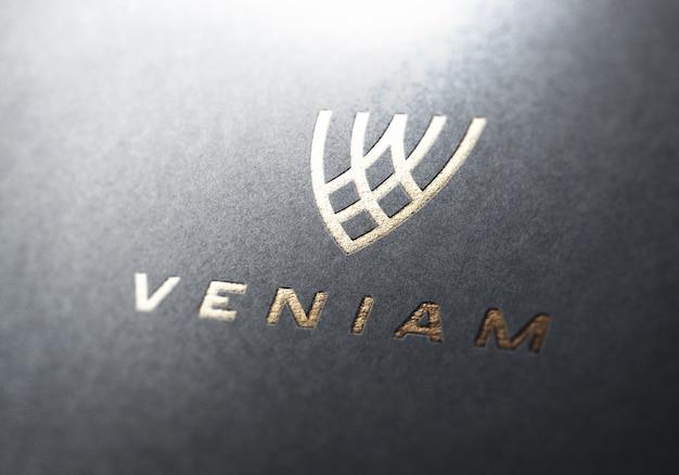 Maquete logotipo perspectiva ouro