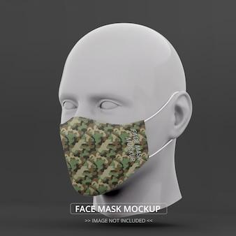 Maquete máscara facial vista em perspectiva manequim homem