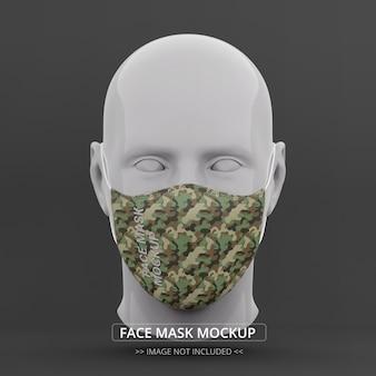 Maquete máscara facial vista frontal manequim homem