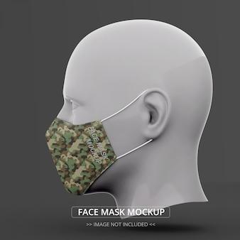 Maquete máscara facial vista lateral homem manequim