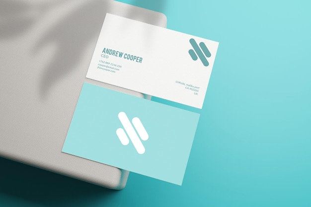 Maquete mínima de cartão de visita em azul e branco