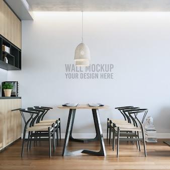 Maquete minimalista da parede da sala de jantar