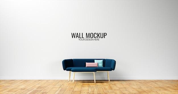 Maquete minimalista da parede interior com sofá azul marinho