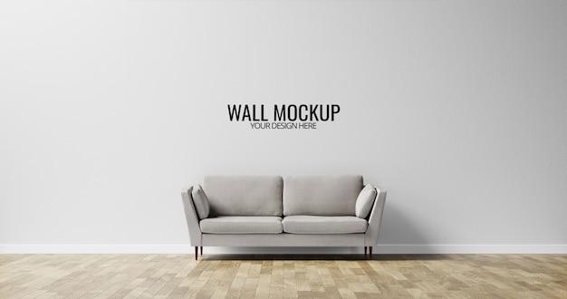 Maquete minimalista da parede interior com sofá cinza