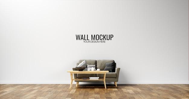 Maquete minimalista da parede interior com sofá marrom