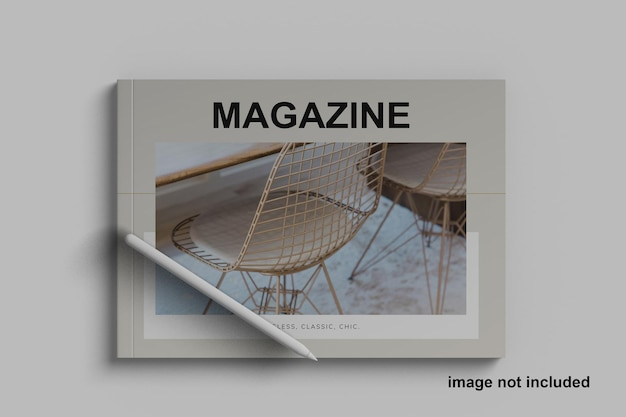 Maquete minimalista da revista a5 landscape