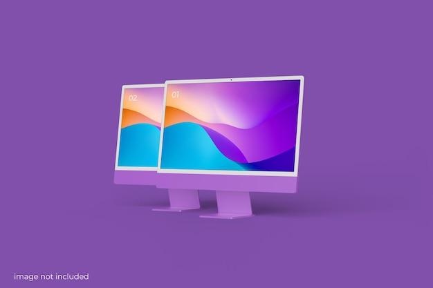 Maquete minimalista da tela do desktop do pc
