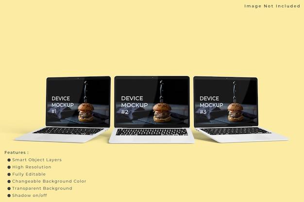 Maquete minimalista da tela do laptop com fundo de cor pastel