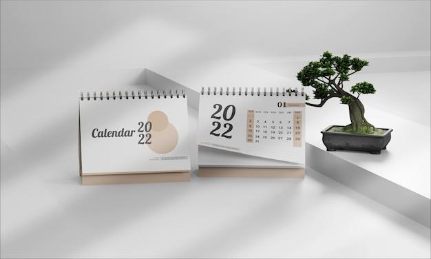 Maquete minimalista de composição do calendário 2022