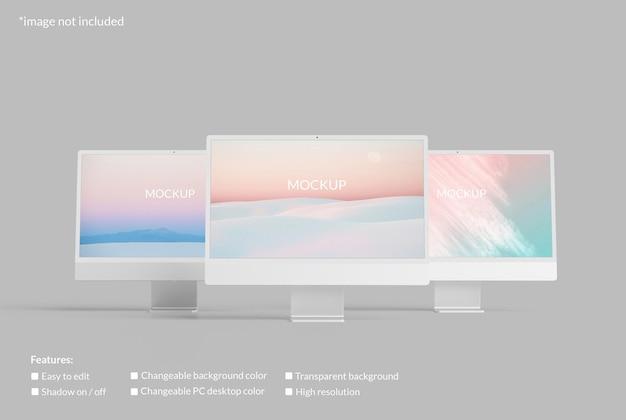 Maquete minimalista de tela de desktop de pc triplo