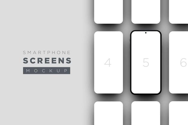 Maquete minimalista de telas de smartphone