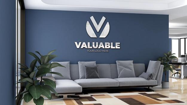 Maquete minimalista do logotipo da parede da sala de espera do lobby do escritório