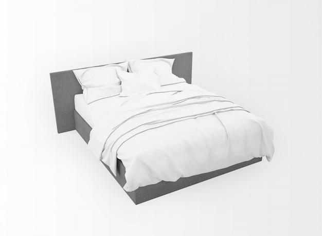Maquete moderna cama de casal isolada