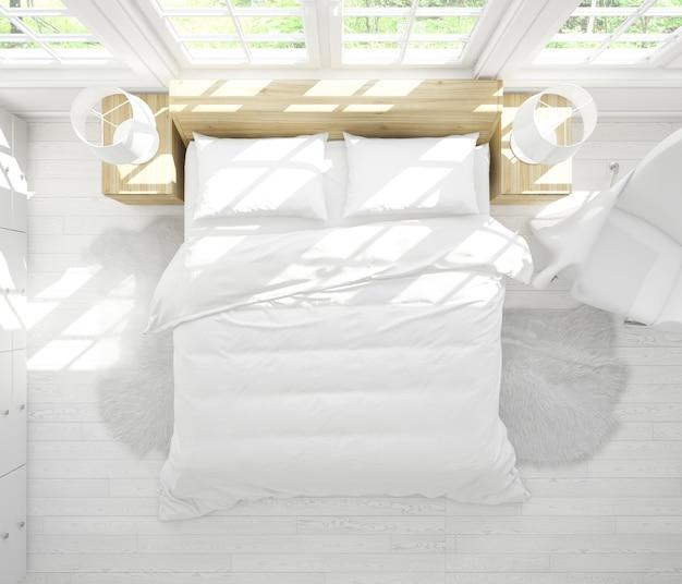 Maquete moderna cama de casal no quarto brilhante na vista superior