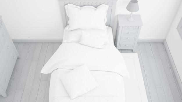 Maquete moderna cama de solteiro no quarto brilhante