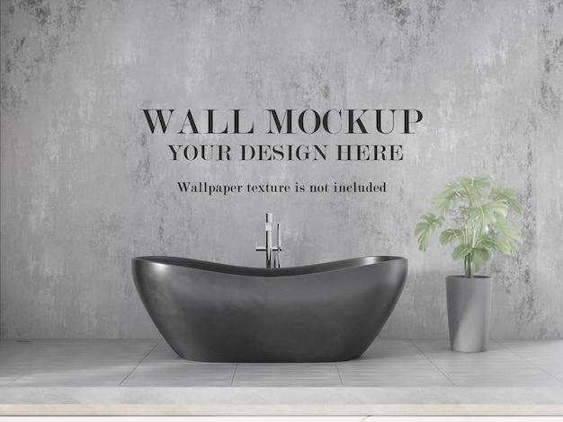 Maquete moderna da parede do banheiro com móveis minimalistas