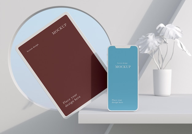 Maquete moderna de tablet e smartphone