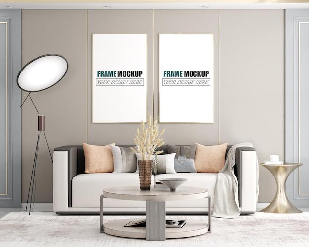 Maquete moderna e luxuosa da moldura da sala de estar