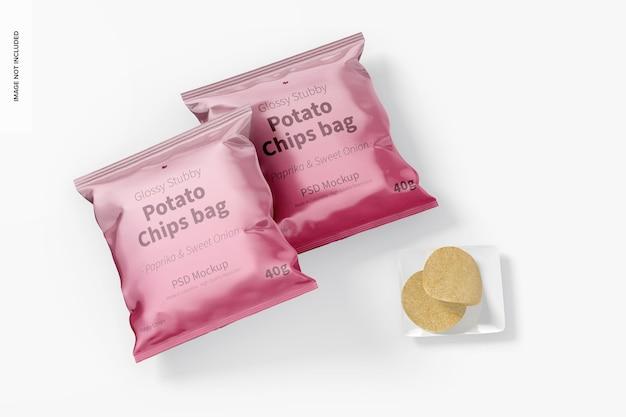 Maquete para bolsa de chips atarracada brilhante