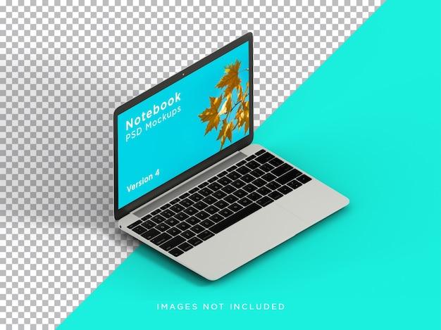 Maquete para laptop, vista isométrica direita realista isolada