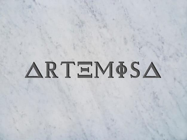 Maquete para o logotipo na textura de mármore