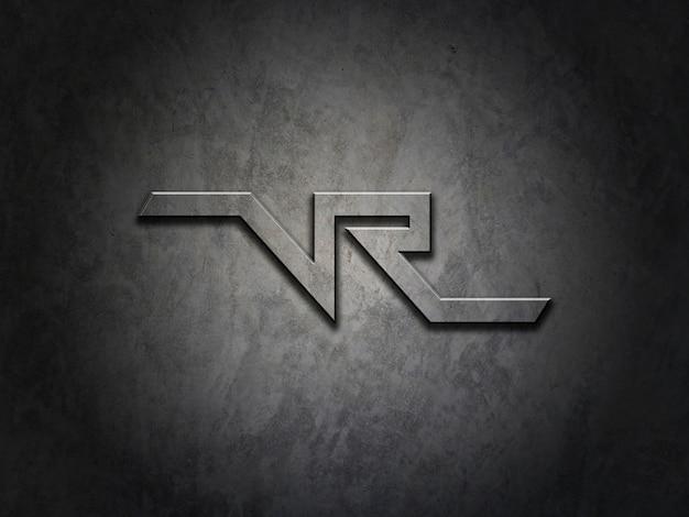 Maquete para o logotipo na textura de metal