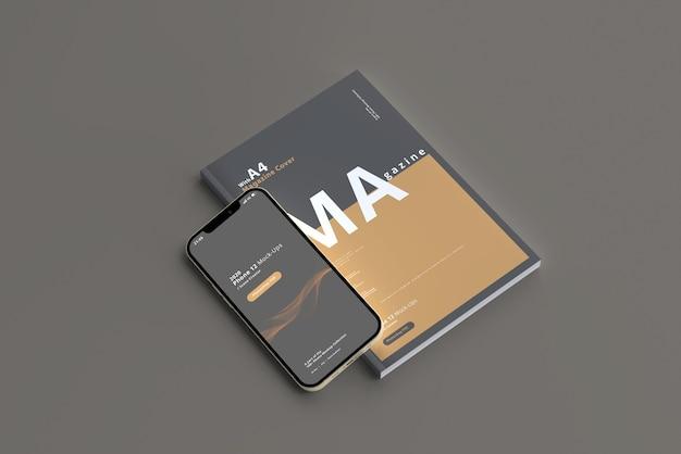 Maquete para smartphone com revista