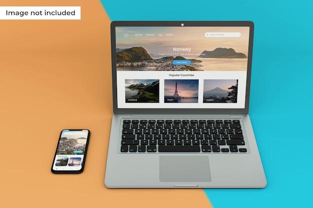 Maquete personalizável do dispositivo móvel e da tela do laptop