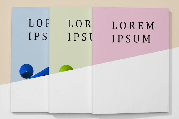 Maquete plana de livros coloridos