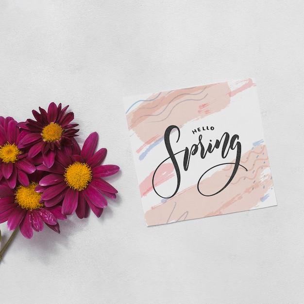 Maquete plana de primavera com cartão