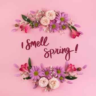 Maquete plana de primavera com copyspace e quadro