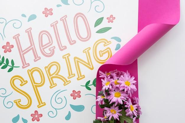 Maquete plana de primavera com copyspace