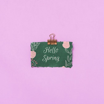 Maquete plana leiga de primavera com cartão