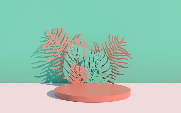 Maquete, pódio, display com fundo de planta tropical de folhas monstera, renderização 3d