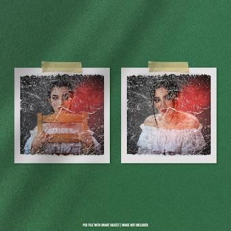 Maquete polaroid de moldura de foto antiga com efeito granulado premium psd