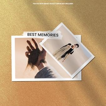 Maquete polaroid de moldura de foto marrom realista premium psd