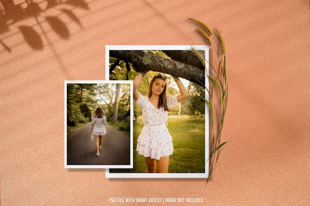 Maquete polaroid de moldura fotográfica premium psd