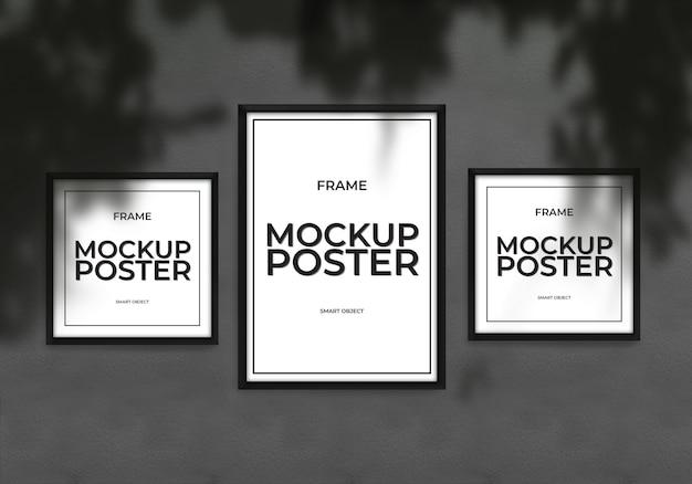 Maquete poster frame com fundo preto da parede