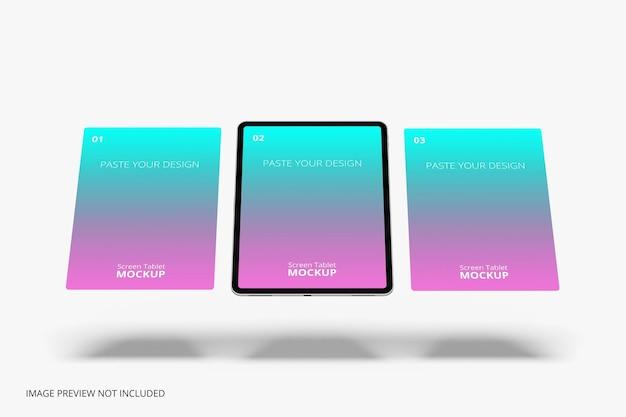 Maquete profissional de tablet com tela flutuante para renderização em 3d