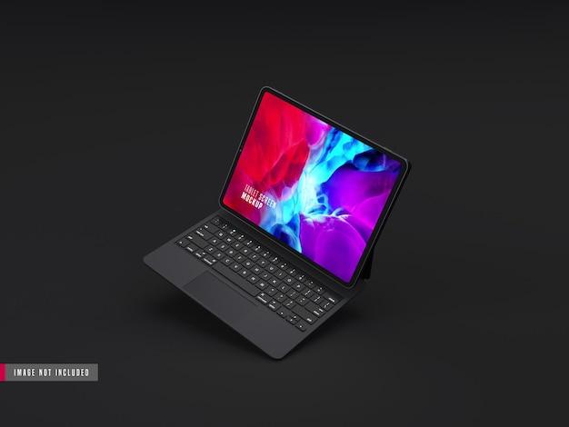 Maquete profissional de tablet escuro realista, com teclado