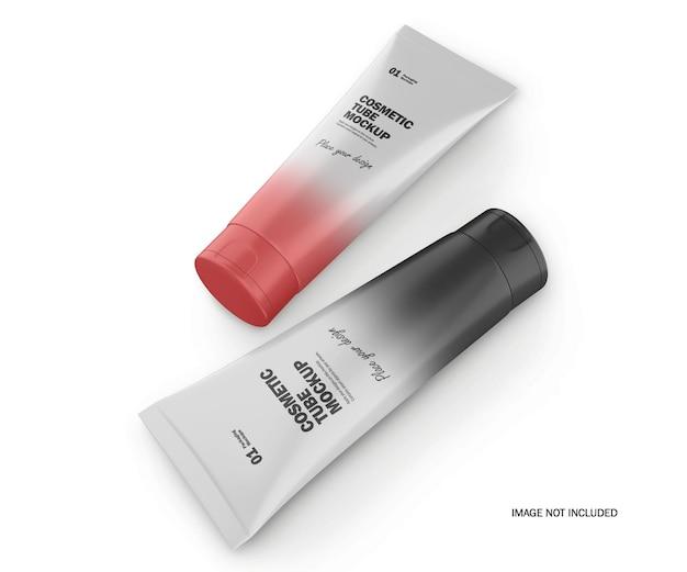 Maquete psd de dois tubos cosméticos de plástico 3d fosco