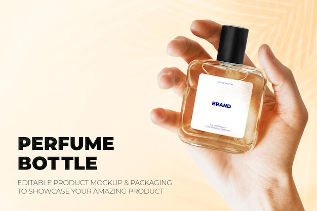 Maquete psd de frasco de perfume estilo minimalista