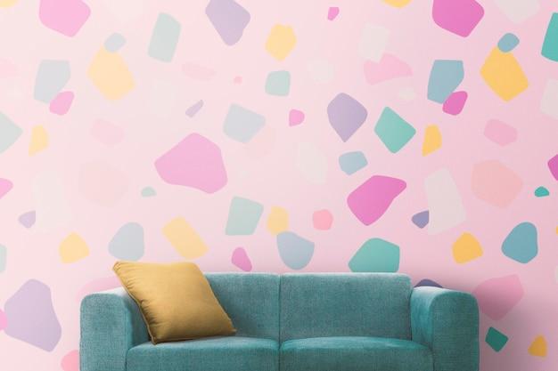 Maquete psd de interior de sala de estar moderna com papel de parede de mosaico