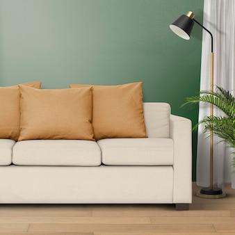 Maquete psd de interior de sala de estar moderna