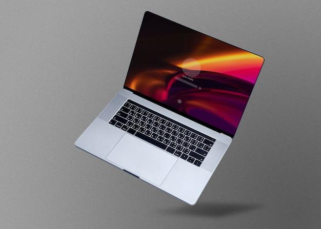 Maquete psd de laptop com luz led gradiente