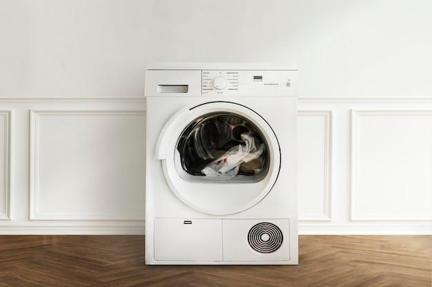 Maquete psd de máquina de lavar em um design de interiores minimalista de lavanderia